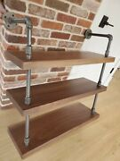 Solid Black Walnut Wood And Vintage Metal Pipes Wall Mounted Shelving Unit 3 Level