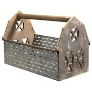 New Rustic Farmhouse Country Olive Bucket Barn Wood Tool Box Basket Carry All