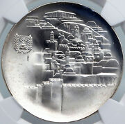 1968 Israel Jewish Old Temple Gate Jerusalem View Silver 10lirot Coin Ngc I87960