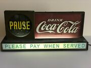 Coca Cola Coke 1950and039s Light Up Pause Counter Sign Display