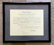 President Ronald Reagan Autograph, Honoring Letter And Appointment Affidavit