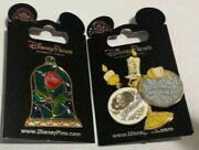 Disney 2 Beauty And The Beast Pins Stained Glass Rose Mosaic And Lumiere Movable