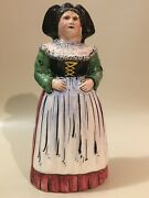 Antique French Faience Majolica Lady Figural Dinner Table Bell France