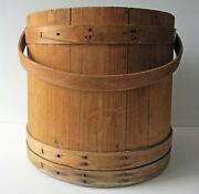 Antique Large Wood Firkin With Handle No Cover 14andrdquo