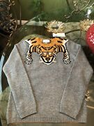 100 Authentic Tiger Stripes Gray Wool Sweater Size Xl