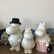 Arabian 90and039s Moomin Daddy Mama Figure Size 20.0cm Vintage Lot Of 3 Set Pottery