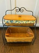 Longaberger 1998 Wrought Iron Small Baker's Rack W/ 2 Baskets, Liner, Inserts