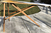 Antique Vintage Wood Legs Primitive Ironing Board Table Folding 54andrdquo