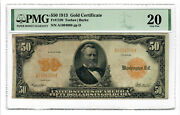 Ccandc 50 1913 - Gold Certificate Note - Vf 20 - A1604088 - Ships Free