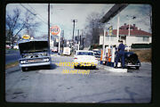 1961 Gulf Gas Station In Pennsylvania And Cars Vw Beetle, Original Slide A19a