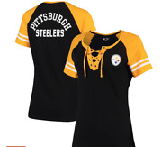 Women's Black/gold Pittsburgh Steelers Lace Up T-shirt Nfl Team Apparel -2x
