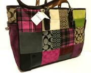 New Coach Purple Lg Multicolor Sig Patchwork Gallery Tote Bag Purse Satchel Wow