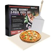 Royal Gourmet 2-piece 15 Pizza Stone Set With Peel/shovel For Bbq, Oven Ksf1507
