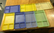 7 Vintage Tupperware Bright Colors Cafeteria Serving Divided Picnic Trays Lunch