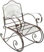 Vingli Outdoor Rocking Chairs With Antique Brown Finish And Curved Arms, Patio