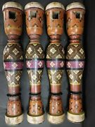 Indian Antique Rare Colorful Lacquer Handmade Wooden Bed Legs Feet/charpai