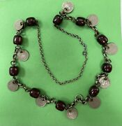 Vintage Rare Hand Made Palestinian Cherry Amber Faturan Silver Necklace 90g R4