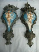 Magnificent Pair Of Antique Wall Sconce Urns Porcelain With Gothic Metal Mounts