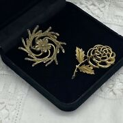 Vintage Sarah Coventry Floral Brooch Lot Of 2 Gold Tone Collar Pin Retro Pretty