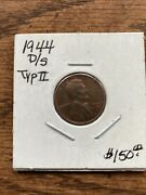 1944 D Over S Lincoln Wheat Cent Penny Fs-512red Brown Nice Details