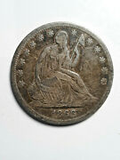 Silver Seated Liberty Half Dollar 1866 S Full Liberty Scratched On Back