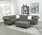 Luxury 4pcs Sectional Sofa Slate Grey Leatherette Cushion Tufted Loveseat Wedge