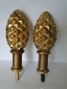 Pair Vintage Gold Decorated Large Pineapple Solid Wood Finials