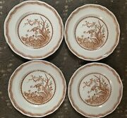 4 Furnivals 1913 Brown Quail Salad Plate 7 3/4and039and039 Made England Rn 684771 Mint