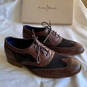 Cole Haan Air Colton Brown Leather Suede Wingtip Saddle Shoes Nikeair Men's 8 M