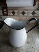 Antique 1910 White Graniteware Enamelware 3 Qt Pitcher With Black Handle And Trim