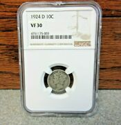 1924-d Winged Liberty Head Or Mercury Dime Ngc Vf30 Buy-it-now
