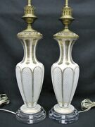 Pair Victorian Bohemian White Cut-to-clear And Gilded Vases Mounted As Lamps.