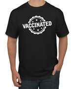 Vaccinated Labeled Stars And Circle Humor Menand039s Graphic T-shirt