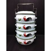 4-stack Food Carrier Vintage Lunch Box Enamelware Pinto Thai Classic Picnic New