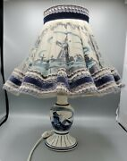 Vintage Dutch Delft Blue And White Lamp W/shade - Hand Painted Windmill Holland