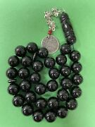 Old Black Coral -silver In Lay 33 Mikawi Worry 33 Beads Islamic Masbaha 76g R1