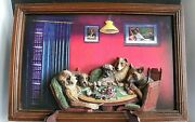 Evandale C M Coolidge Dogs Playing Poker Resin 3-d Man Cave Framed Picture