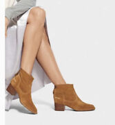 Ugg Womens Bandara Brown Suede Ankle Boots Zipper Round Toe Size 7 New