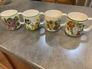 Coffee Mug Cup Hand Painted Ceramic Flower Butterfly Brazil Strawberry Set 4