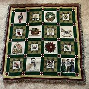 Tapestry Throw Christmas Holidays Quilt Look Fringed Weave Wreath Winter Snow
