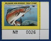 U.s. Det50 1985 Delaware Non-resident Trout Stamp Plate Single