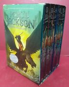 Lot 5 Percy Jackson And The Olympians By Rick Riordan 1-5 Complete Set W/poster