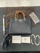 Bamboo Shopper Mini Leather Top Handle Bag Black New Sold Out