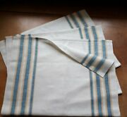 3 Linen Flax Dish Towels Hand Towels Blue Yellow Stripes Set Of 3 Vintage