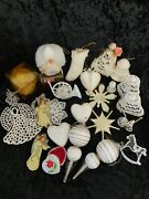 Lot Of 25 Beautiful Vintage Christmas Ornaments Various Sizes Clean White Decor
