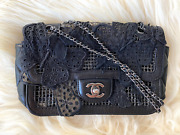 Butterfly Dragonfly Lace Mesh Black Classic Chain Flap Shoulder Bag