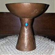 Navajo Aandc Hand Crafted Hammered Copper Art Chalice Goblet Turquoise Inlay Begay