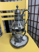 Vintage Glass And Silver Plated Coffee Carafe With Stand Warmer