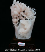 18.8 Chinese Natural Pink White Xiu Jade Carving Flower Birds Statue Sculpture
