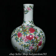 14.4 Collect Good Marked Chinese Famille Rose Porcelain Peach Bottle Vase